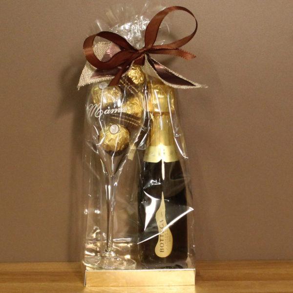 Moederdag geschenk cava glas chocolade