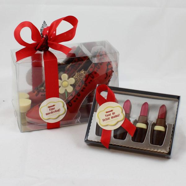 Moederdag geschenk chocoladen make up schoenen