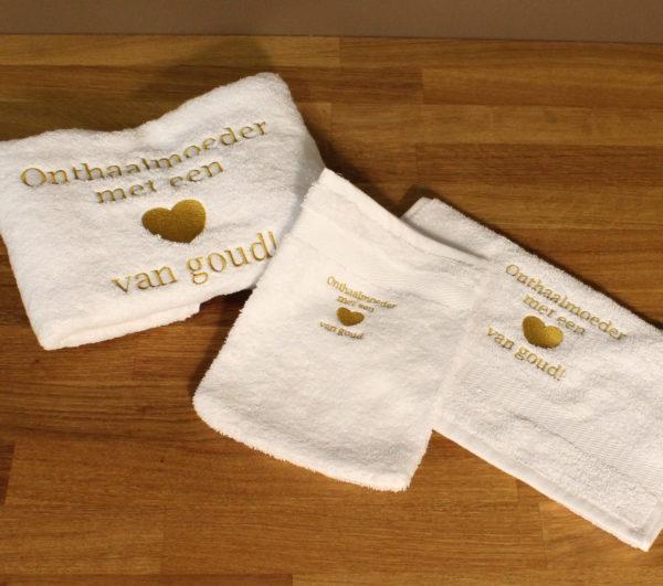Onthaalmoeder met een hart van goud handdoek washandje bedrukt