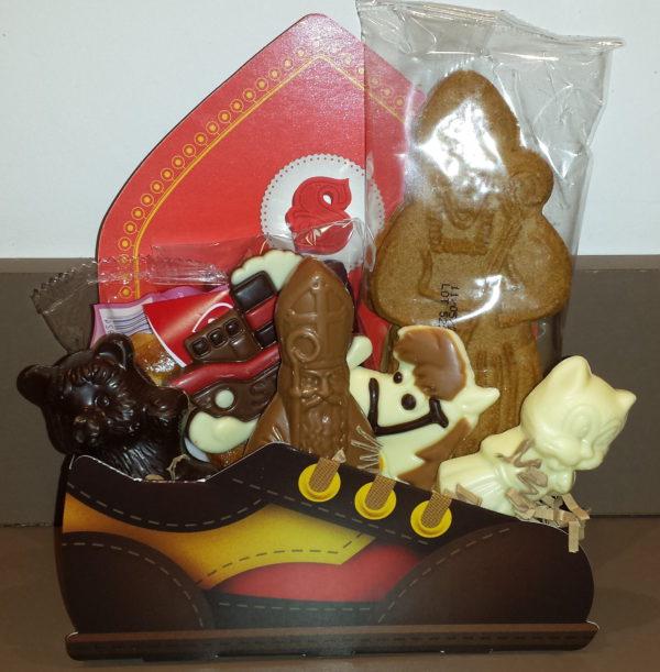Sinterklaas kartonnage schoen cadeaupakket zoetigheden