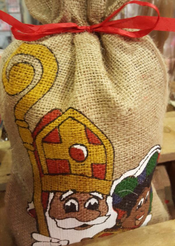 Sinterklaas zwarte piet jute zak zoetigheden