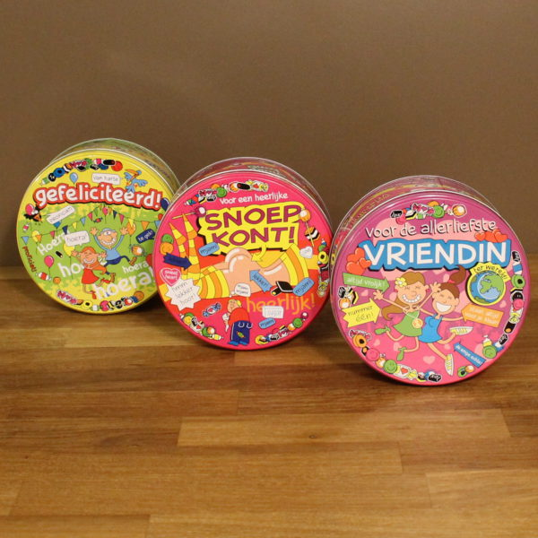 Snoepcadeau blikken dozen bedrukt kleurrijk