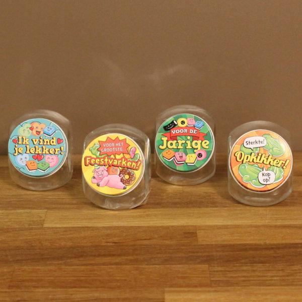 Snoepcadeau glazen potje bedrukt deksel kleurrijk