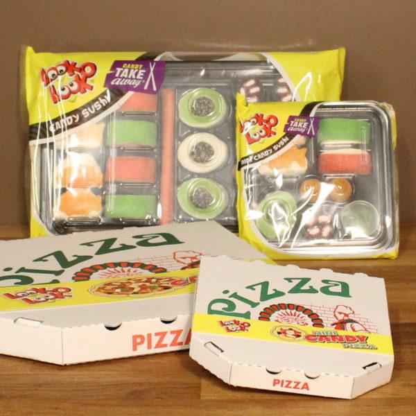 Snoepcadeau pizza sushi