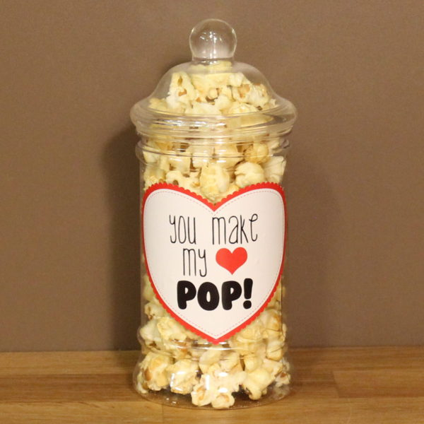 Valentijn geschenk snoeppot popcorn label