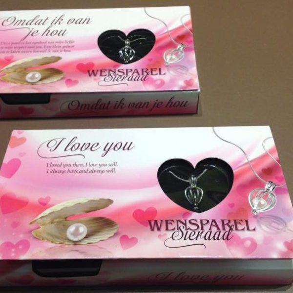 Valentijn sieraad wensparel ketting