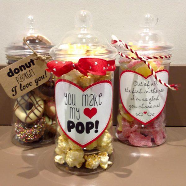 Valentijn snoeppot label kaartje