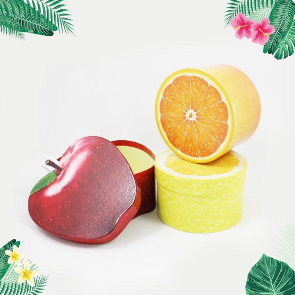 fruitdoosjes-fruitige doosjes-appelsien-appel-citroen-origineel doosje- cadeaudoosje