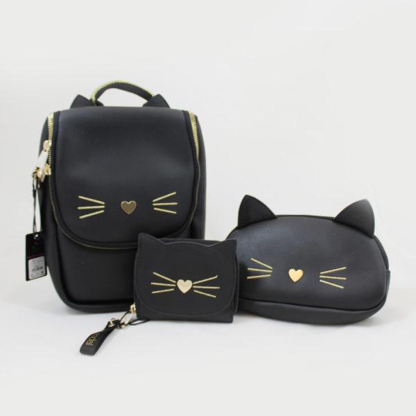 terug naar school-rugzak-handtas-portefeuille-pennenzak-kat-zwart-goud